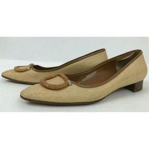 Salvatore Ferragamo Brown Natural Woven Heels 8.5B